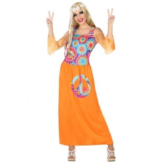 dcd8df6e9aa Oranje hippie flower power verkleed jurk voor dames nu maar € 17.95 ...