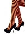 Oranje panty met streep