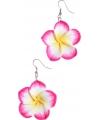 Oorbellen met Hawaii bloem in het roze
